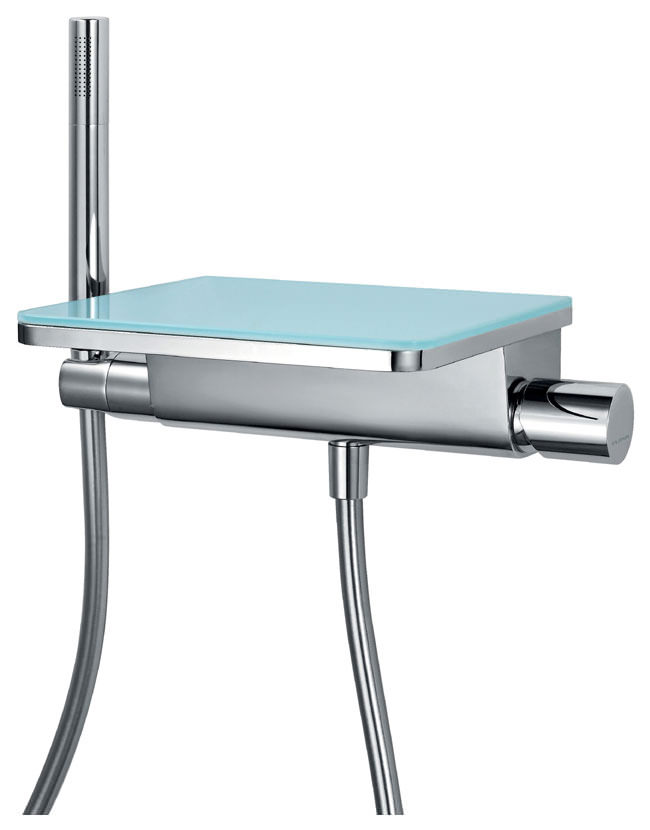 Bath Taps: Flova Annecy Glass Wall Mounted Bath-Shower Mixer Tap With