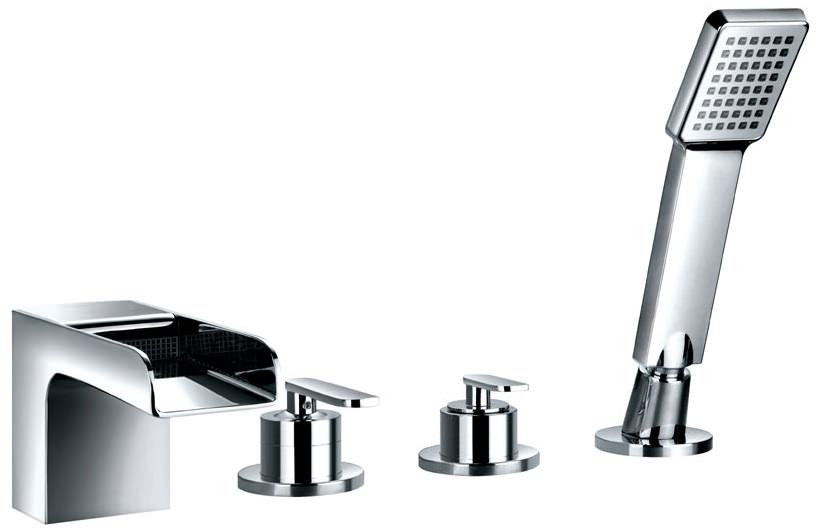 flova cascade 4 hole bath shower mixer tap with handset. Black Bedroom Furniture Sets. Home Design Ideas