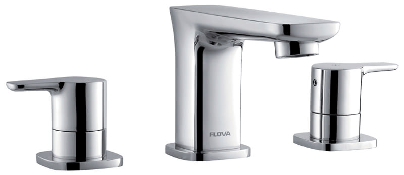 Flova Urban 3 Hole Deck Mounted Basin Mixer Tap With