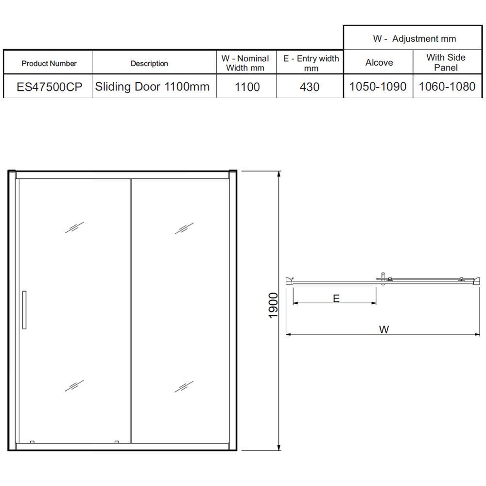 Twyford Es400 Sliding Shower Enclosure Door 1100mm Es47500cp