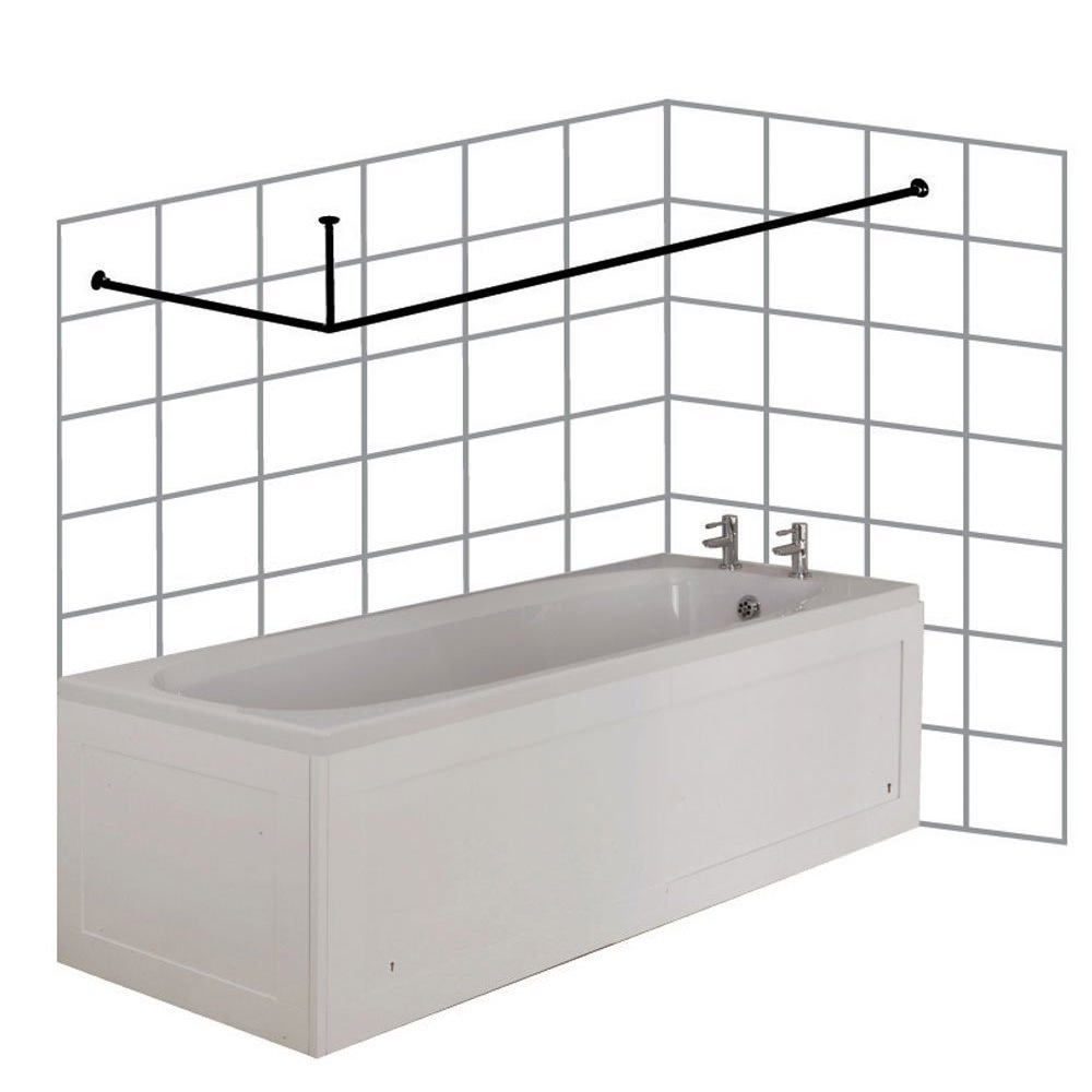 Croydex Large L Shaped To Wall Rod Curtain Rail And