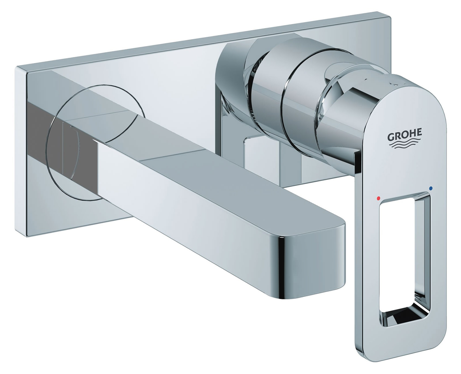 Grohe Quadra Wall Mounted 2 Hole Basin Mixer Tap With Metal Plate ...