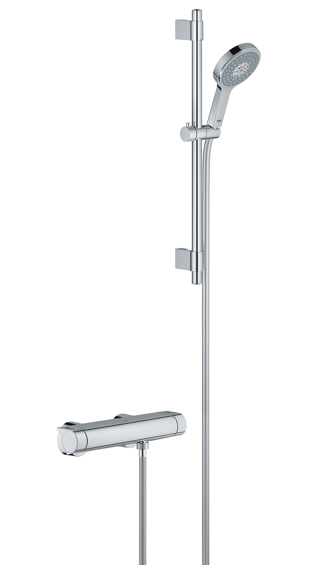 grohe chrome plated shower set with thermostatic exposed valve. Black Bedroom Furniture Sets. Home Design Ideas