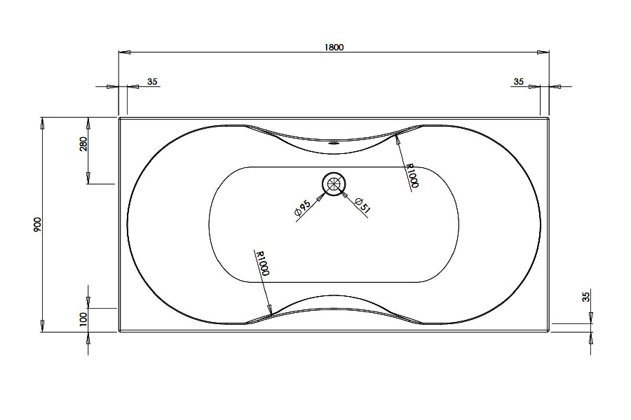 Phoenix Bari Amanzonite 1800 x 900mm Whirlpool Bath - BH004S1