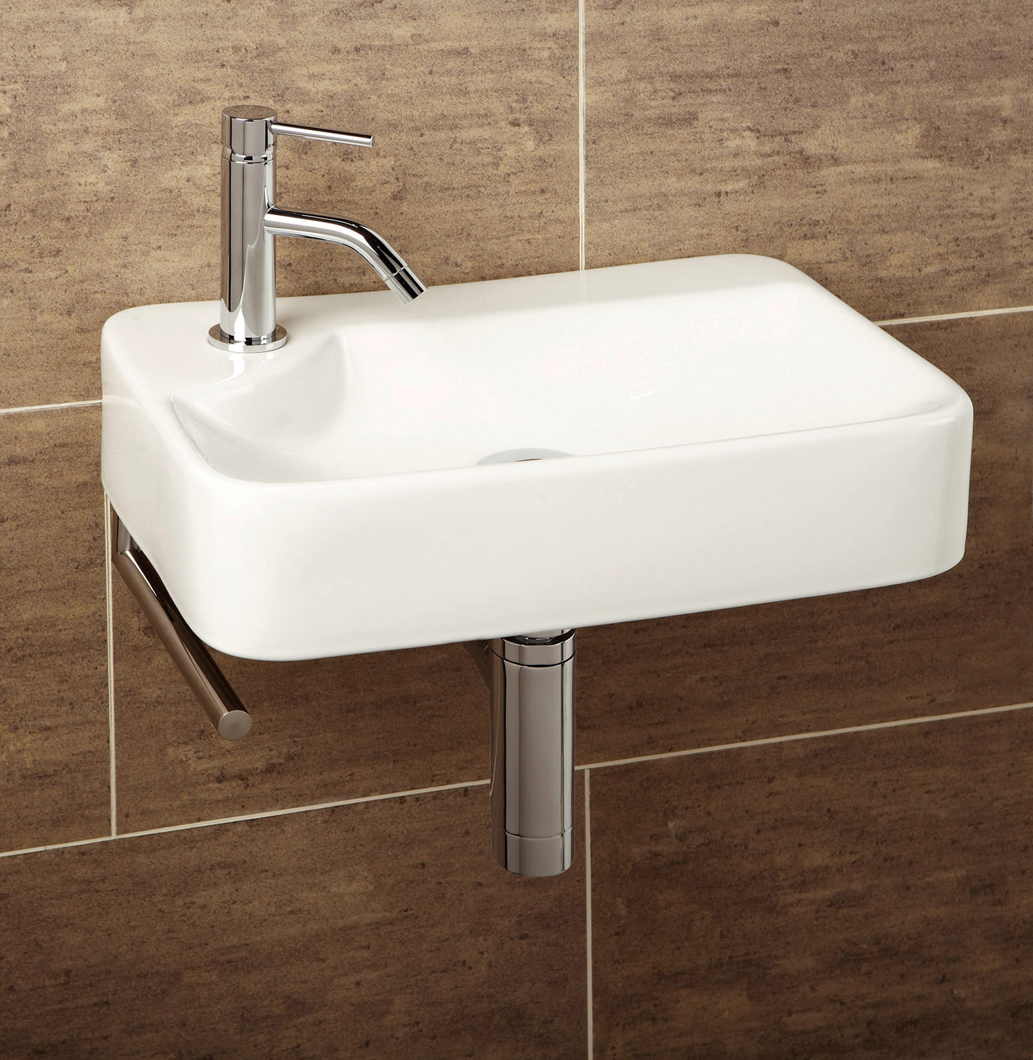Hib malo lugo cloakroom basin with towel rail 8932 - Slim cloakroom basin ...
