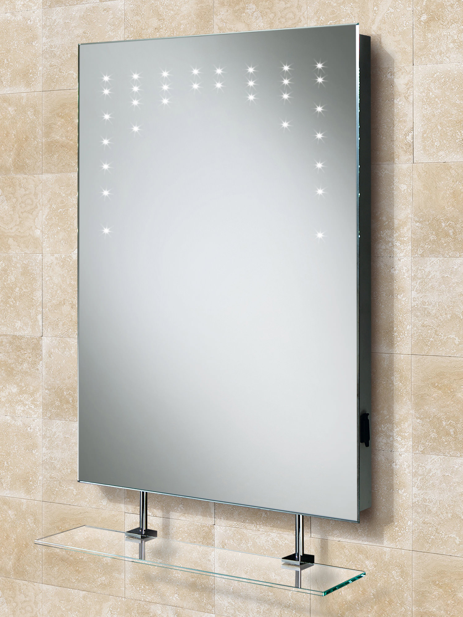HIB Rain LED Bathroom Mirror With Glass Shelf And Shaver Socket