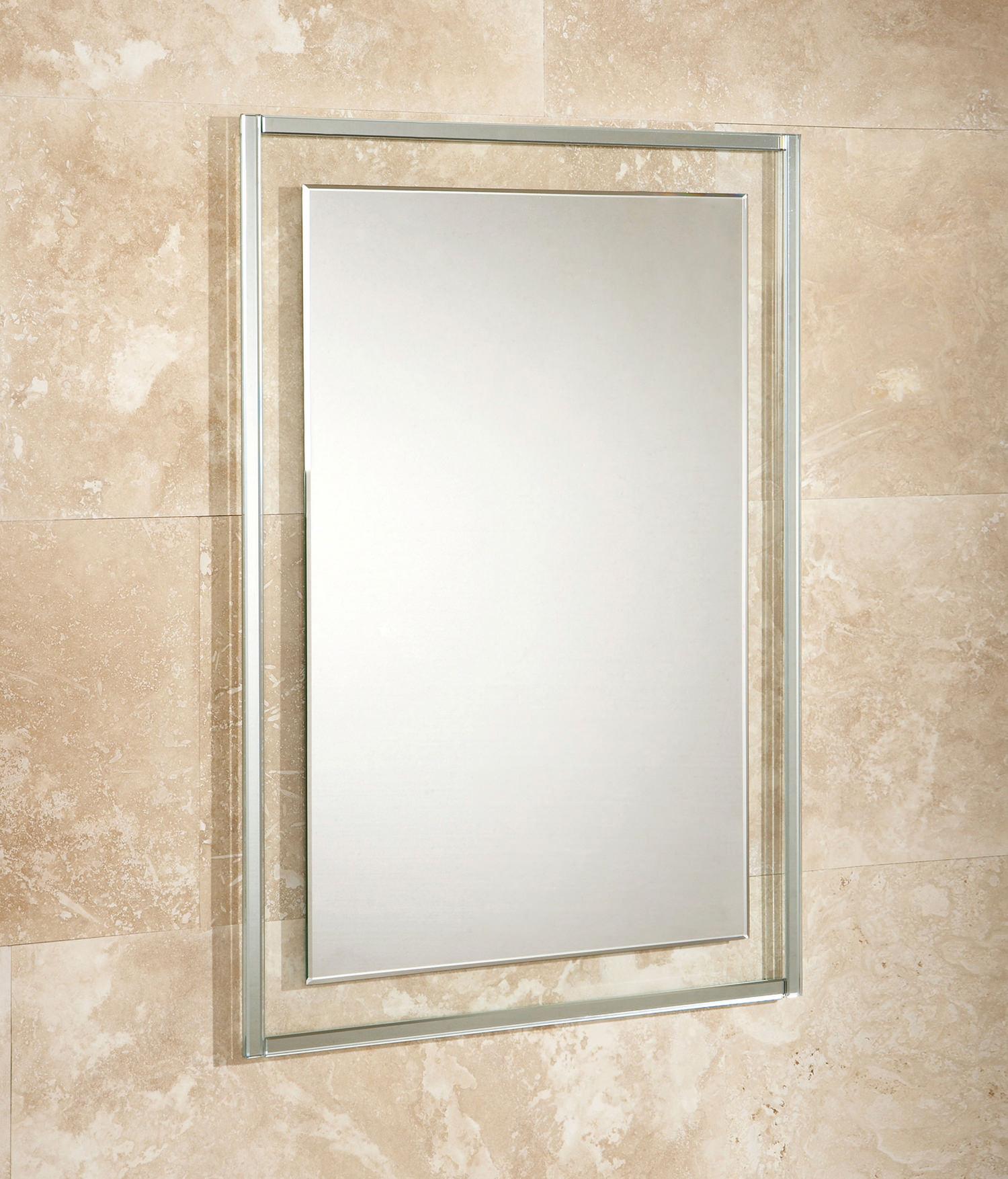 Hib georgia bevelled edge mirror on clear glass frame 500 x 700mm 76060500 for Bevelled edge bathroom mirror
