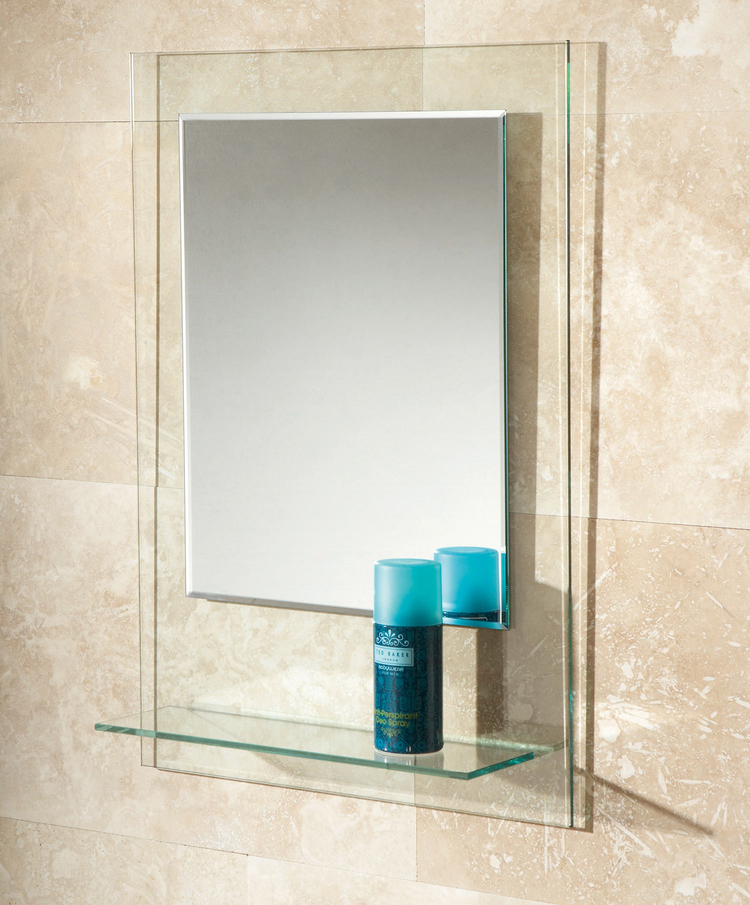 Hib Fuzion Bevelled Edge Mirror With Glass Shelf 72300100