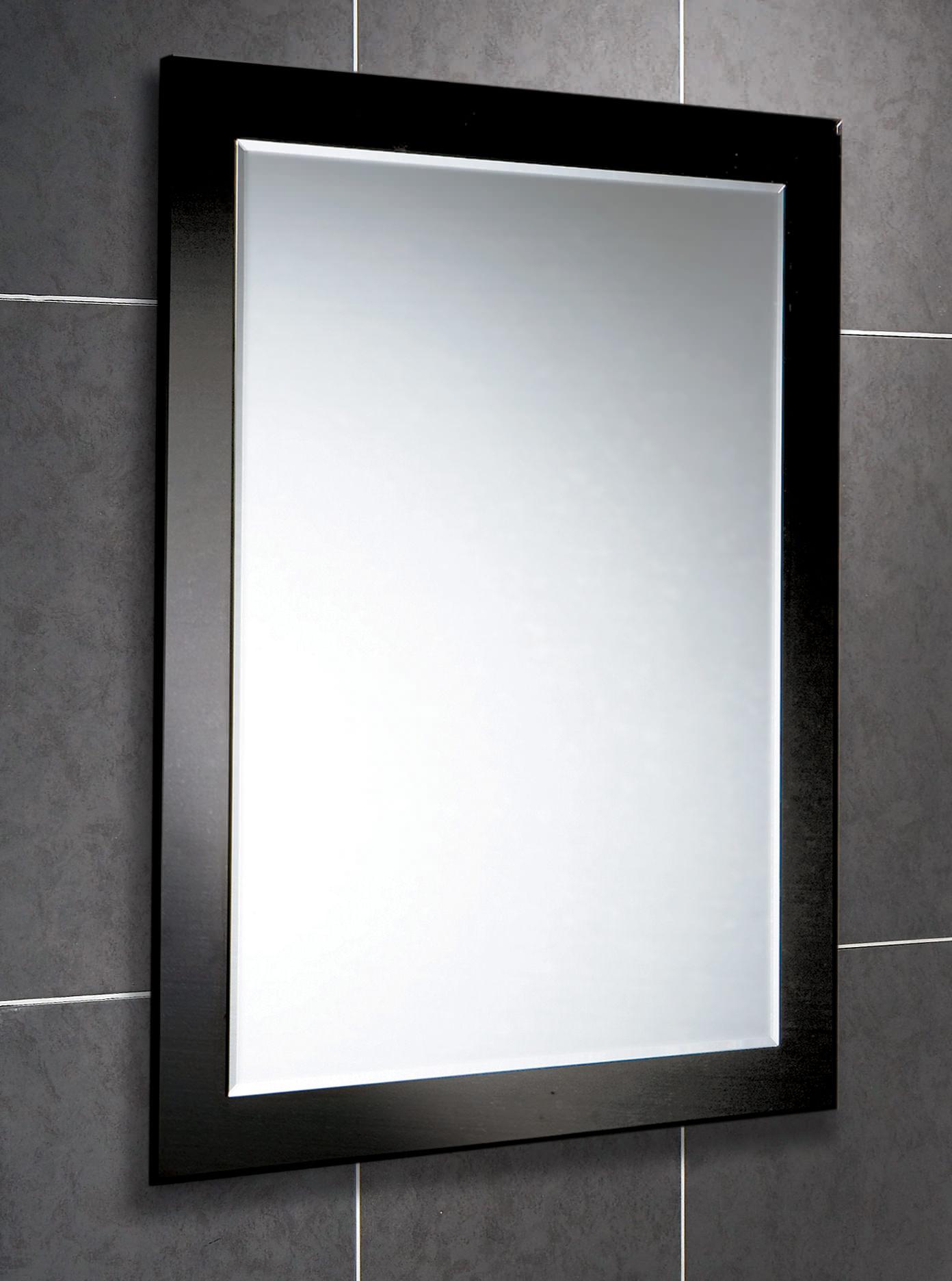 Large rectangular wall mirrors for bathroom - Hib Dalia Rectangular Bevelled Mirror On Black Glass Frame