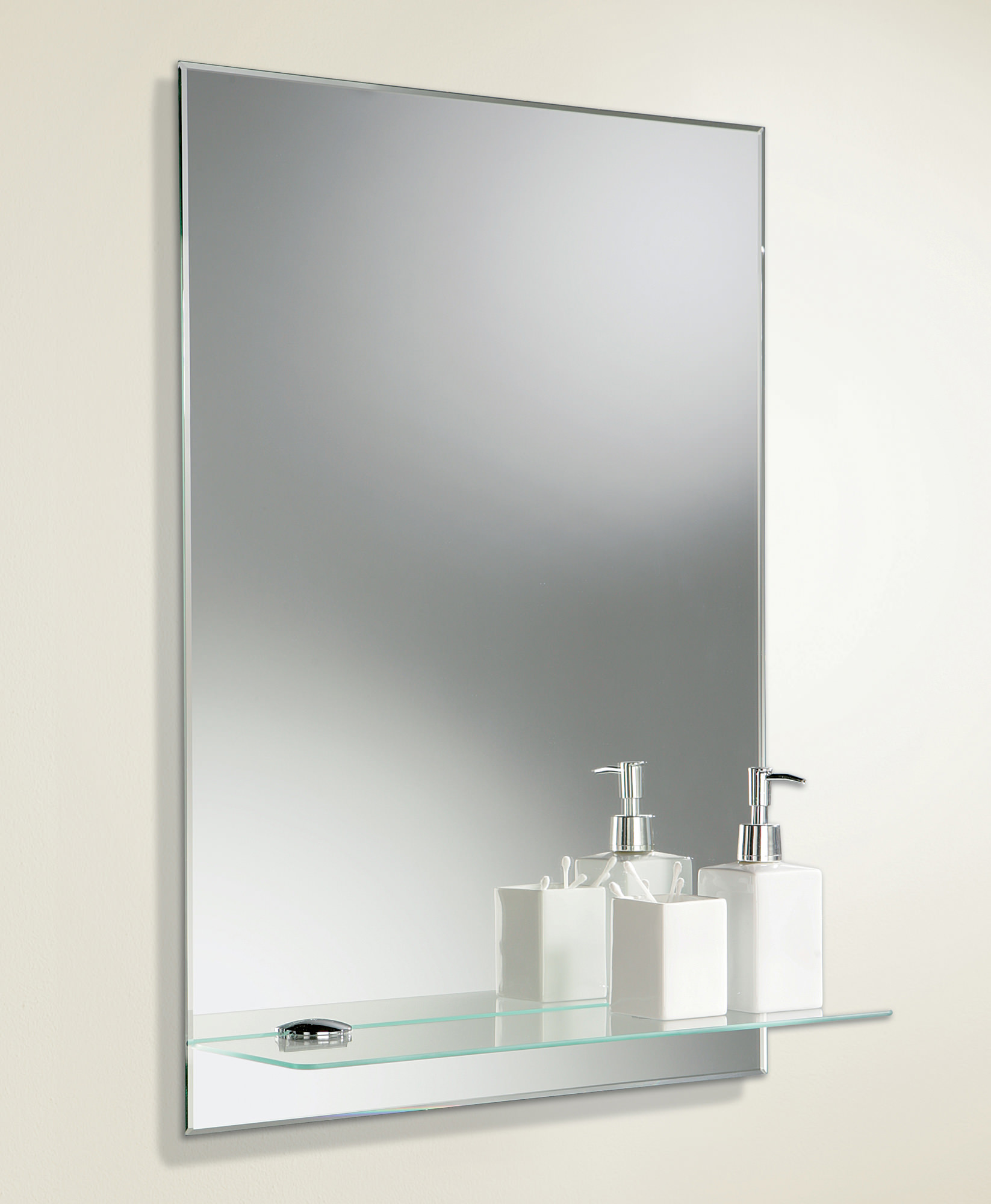 HIB Delby Rectangular Bevelled Edge Mirror With Glass Shelf 500 X 700mm