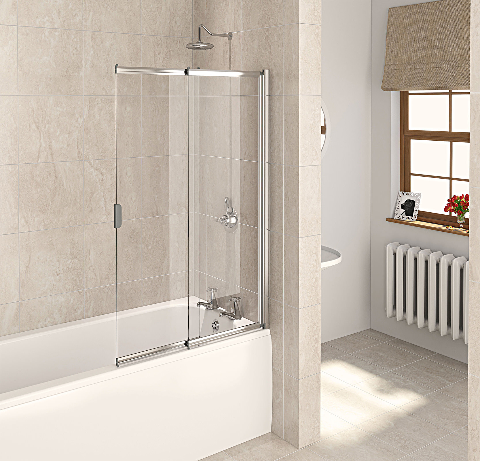 Aqualux Aqua 4 Polished Silver 2 Panel Slider Bath Screen