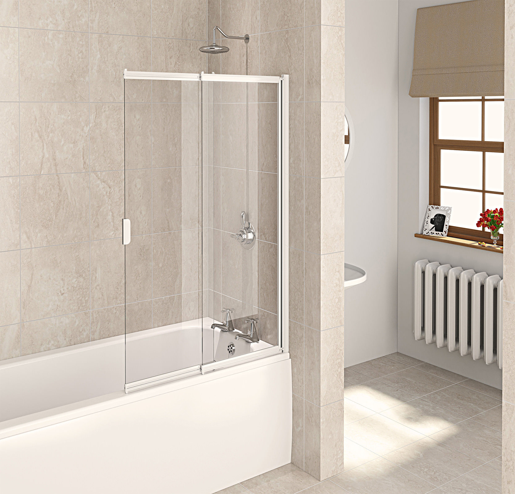 Aqualux Aqua 4 White 2 Panel Slider Bath Screen 820mm