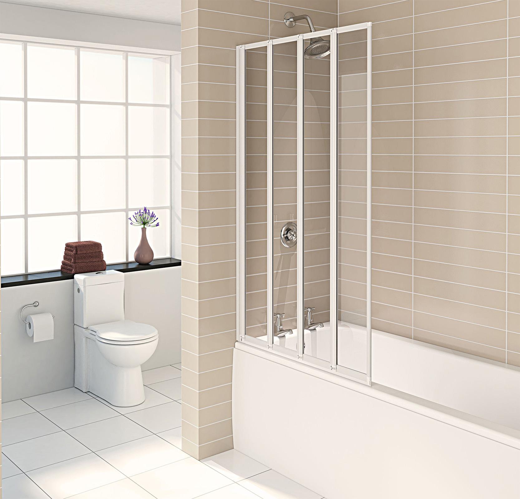 Aqualux Aqua 4 White 4 Fold Bath Screen 840 X 1400mm