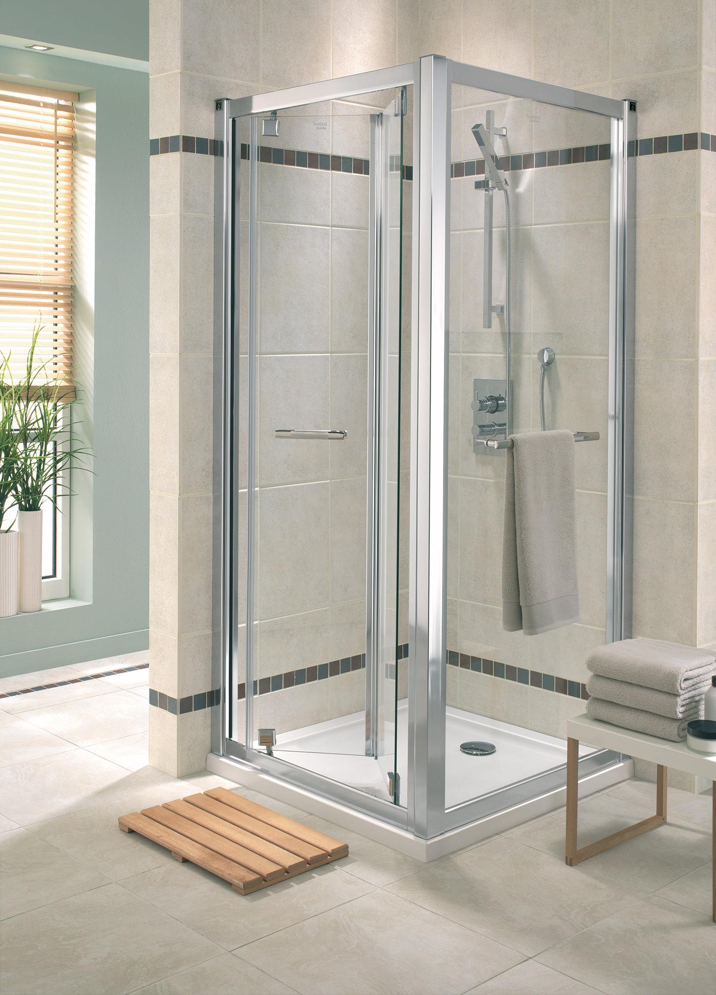 Twyford geo6 bi fold shower enclosure door 900mm g65200cp for Folding shower for small bathrooms