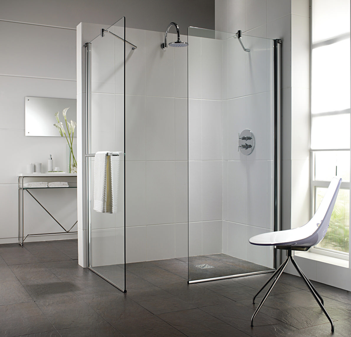 Twyford hydr8 walk in flat glass shower panel 900mm h85950cp Shower glass panel