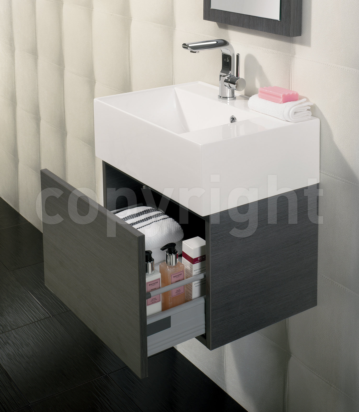 Bauhaus Elite 500mm Single Drawer Steel Wall Hung Basin
