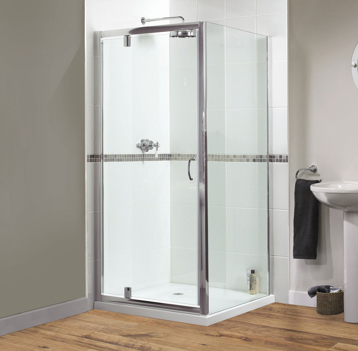 Aqualux Shine Pivot Shower Door 760mm Polished Silver