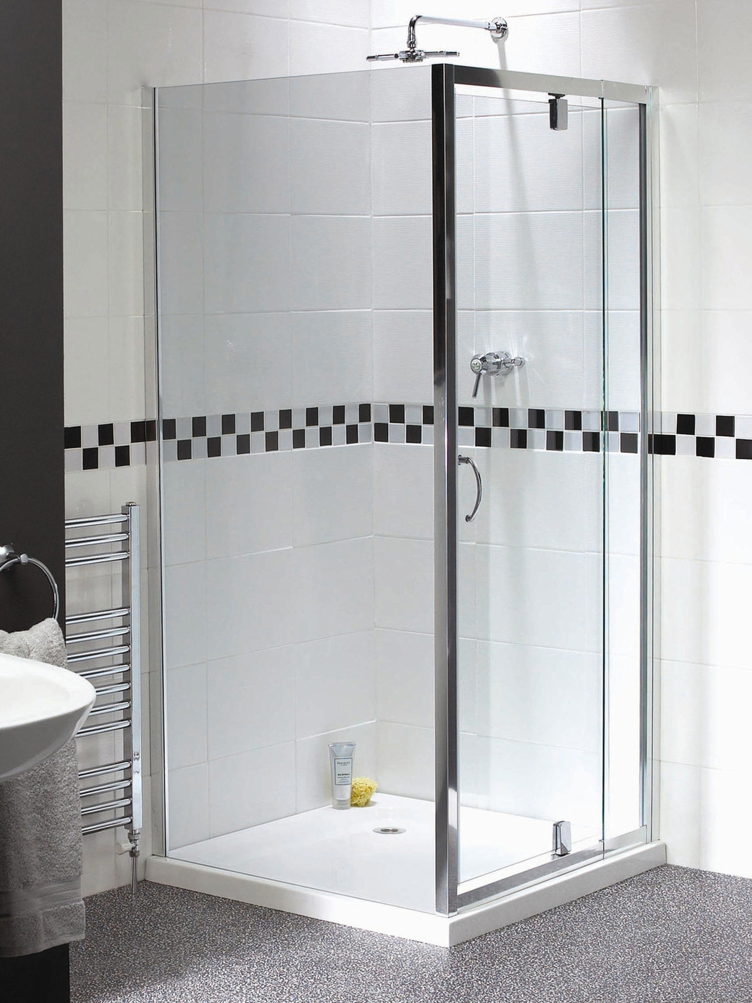 aqualux shine telescopic pivot door 760900mm - Delta Shower Doors