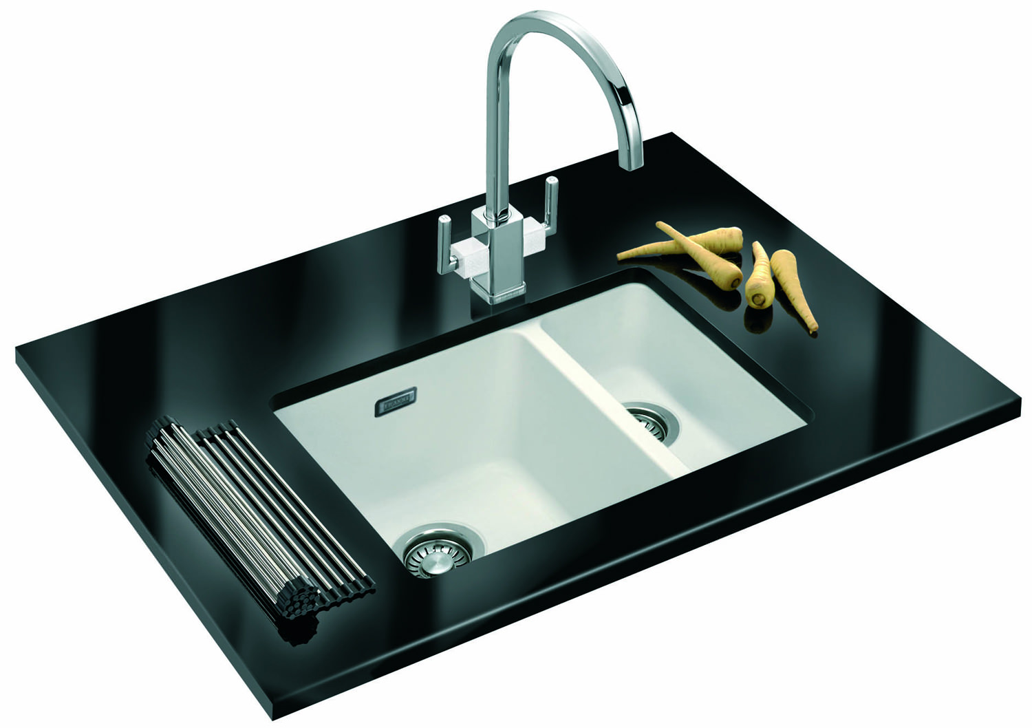 Franke Fragranite Undermount Sink : ... of Franke Kubus KBG 160 Fragranite White 1.5 Bowl Undermount Sink