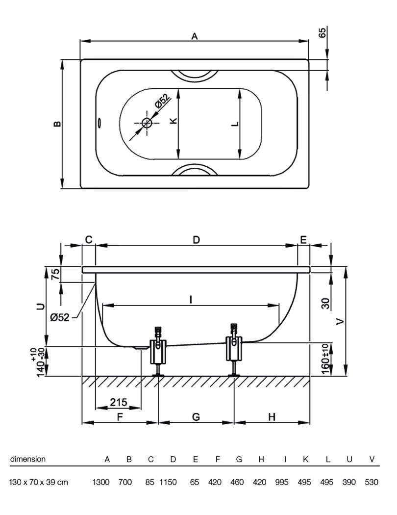 Bette labette rectangular super steel 2 th bath 1300 x for Small baths 1300