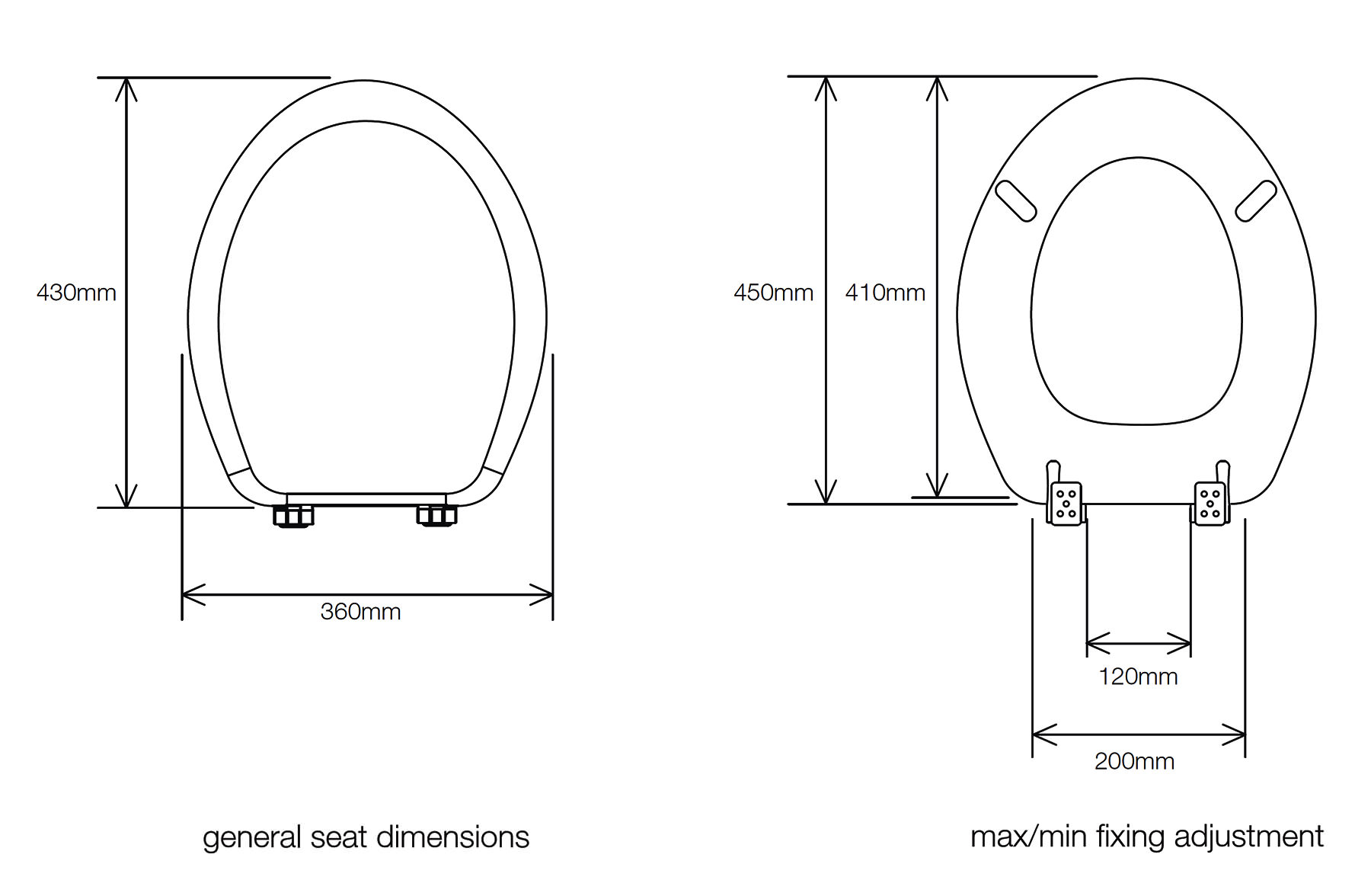 Toilet Seat 8400WH Technical Drawing QS V34877
