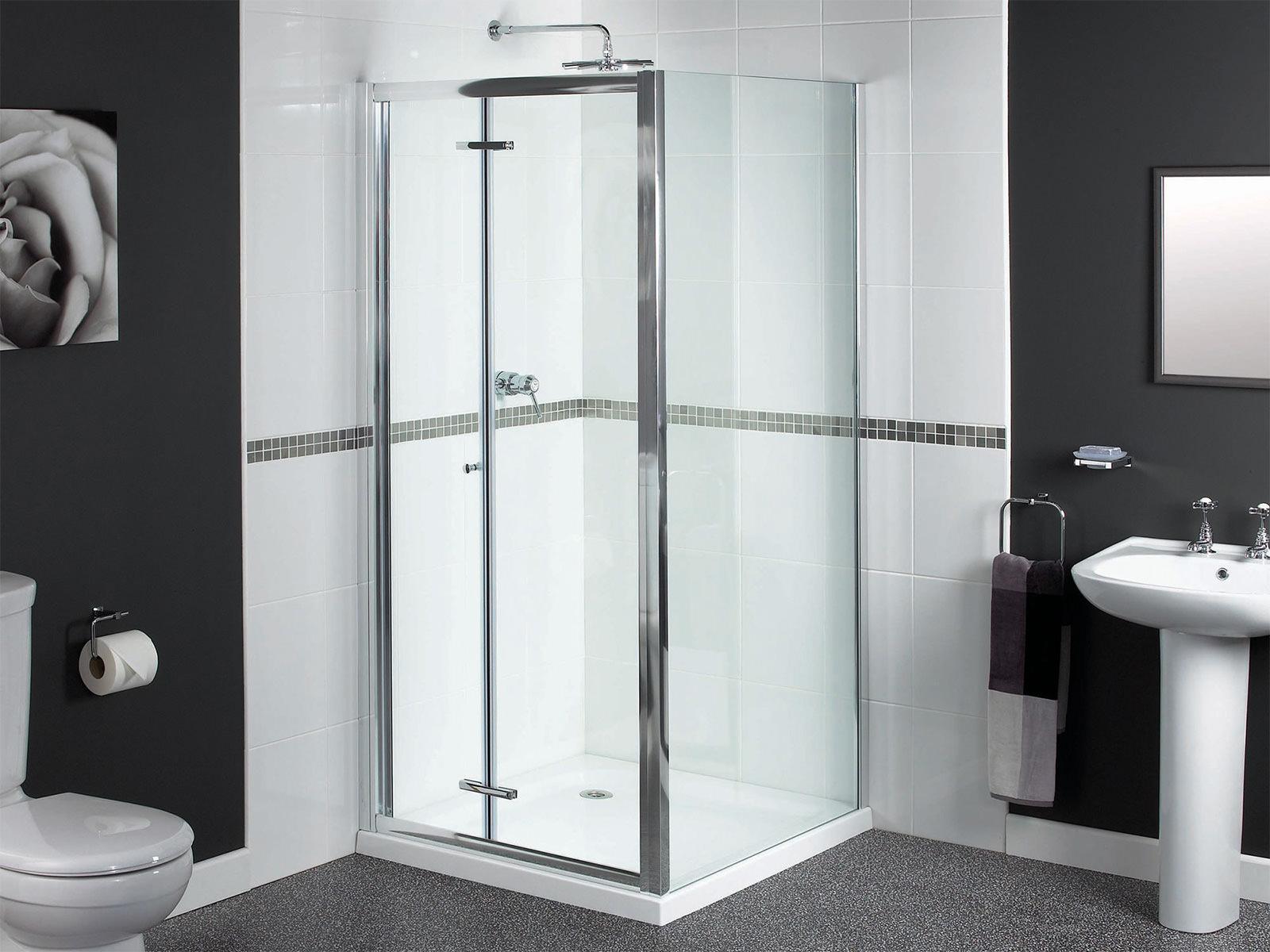 aqualux shine bifold shower door 900mm polished silver fen0900aqu