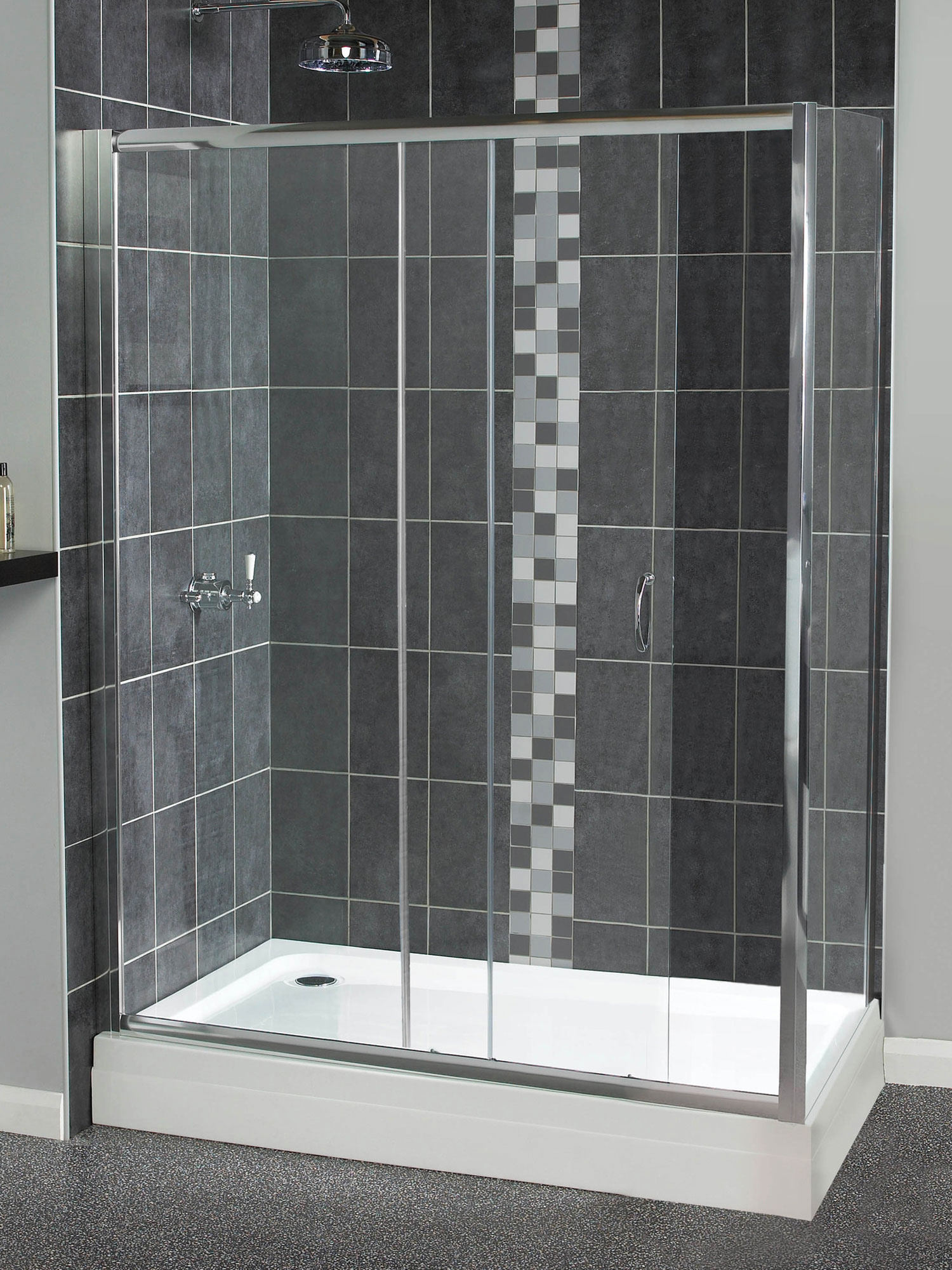 aqualux shine sliding shower door 1200mm polished silver