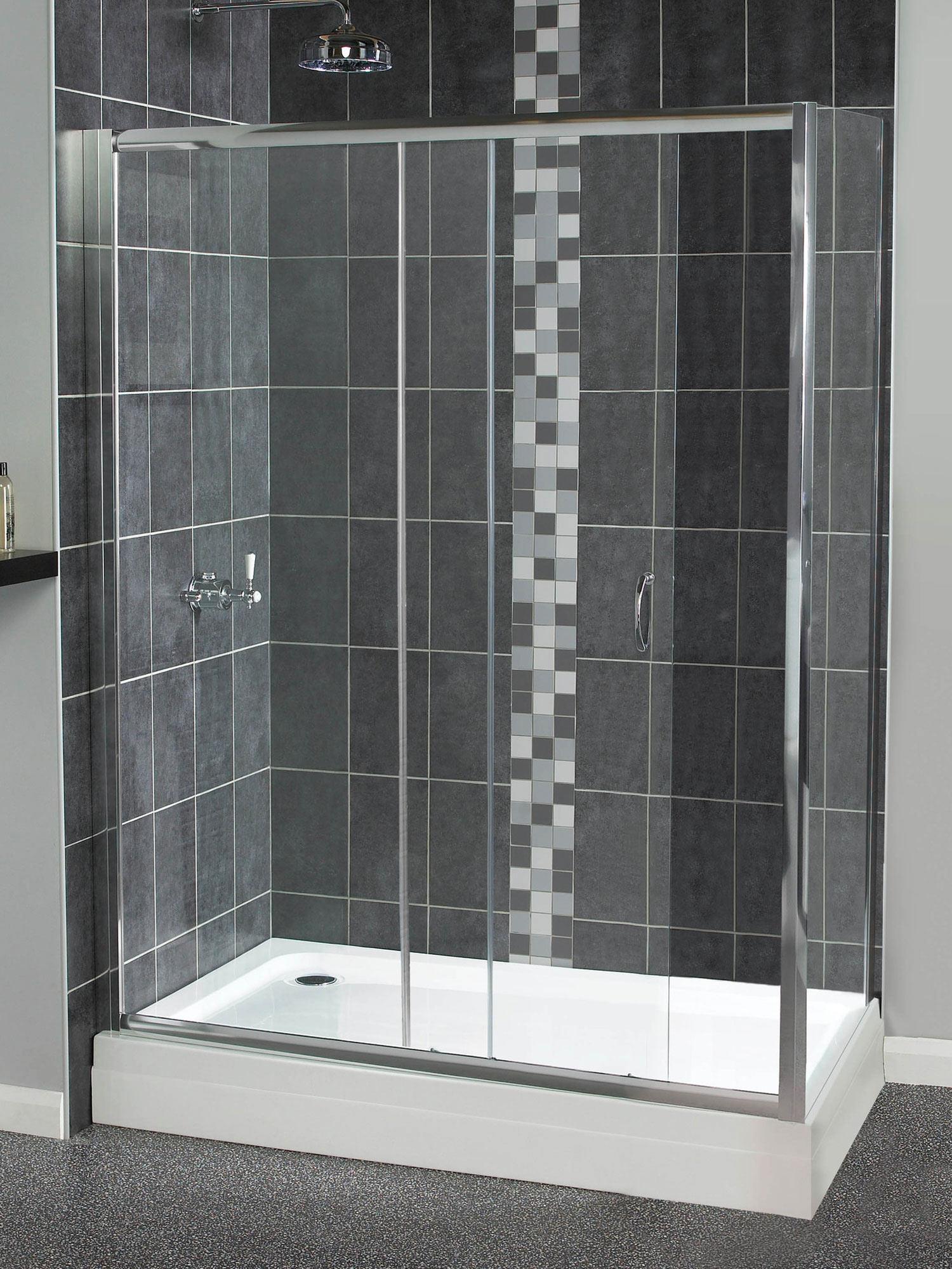 Aqualux shine sliding shower door 1400mm polished silver for 1400mm sliding shower door