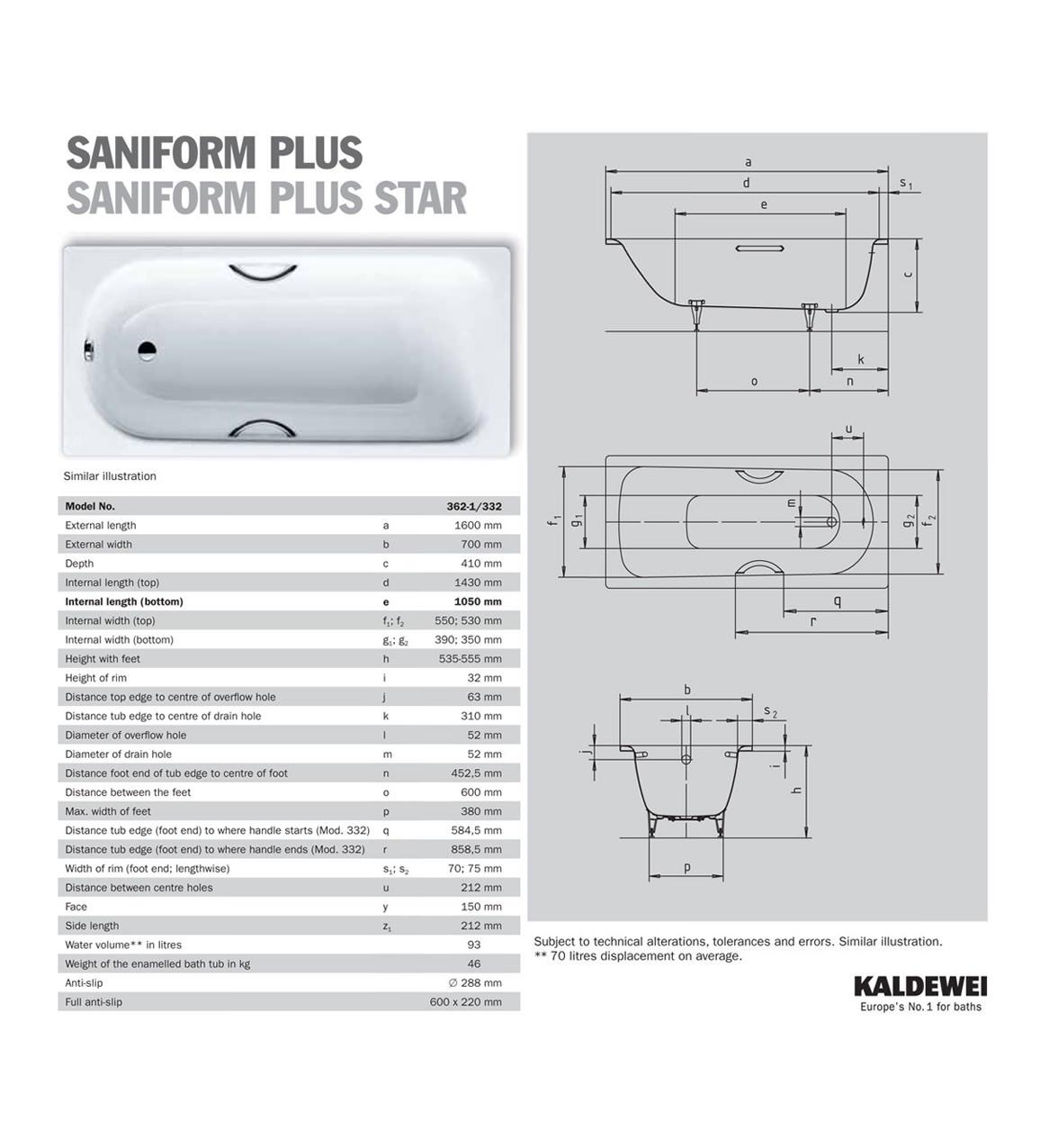 Saniform Plus Bath 1600 Plus 362-1 Steel Bath 1600