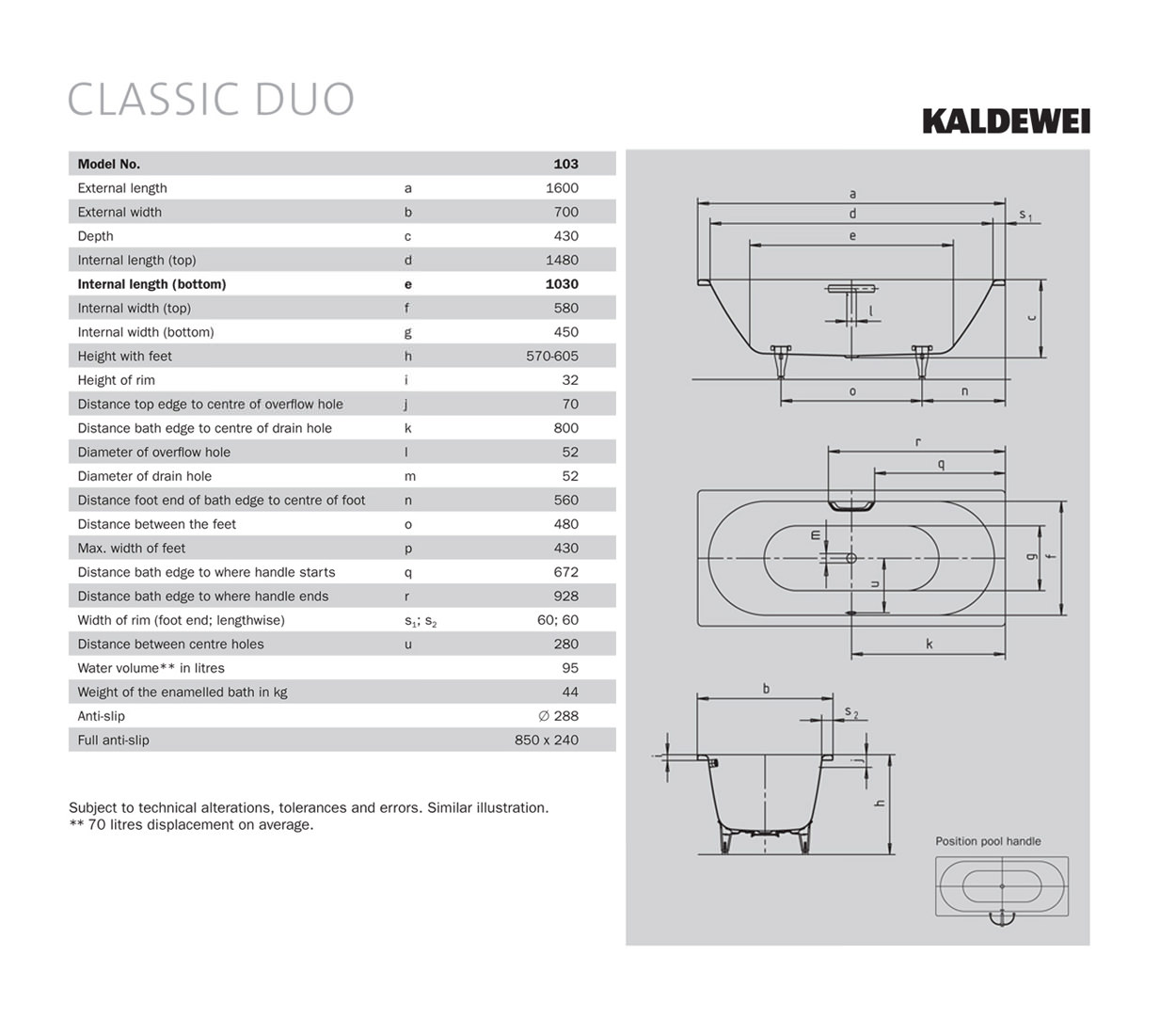 Kaldewei Classic Duo 20 Double Ended Steel Bath 20 x 20mm