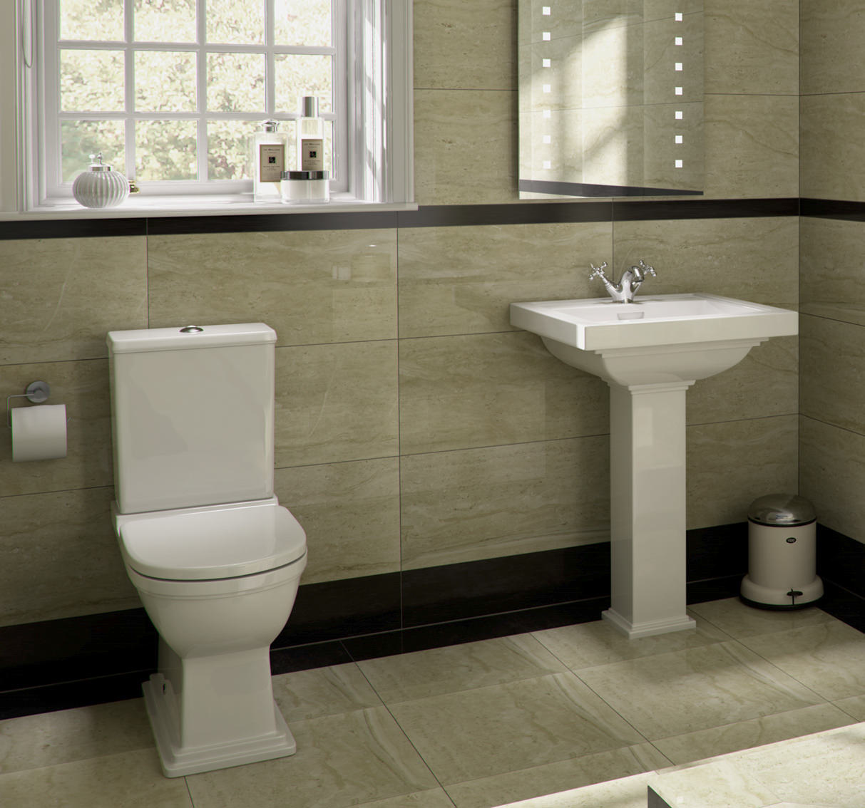 Rak empire 1 tap hole basin with full pedestal 600mm Empire bathrooms