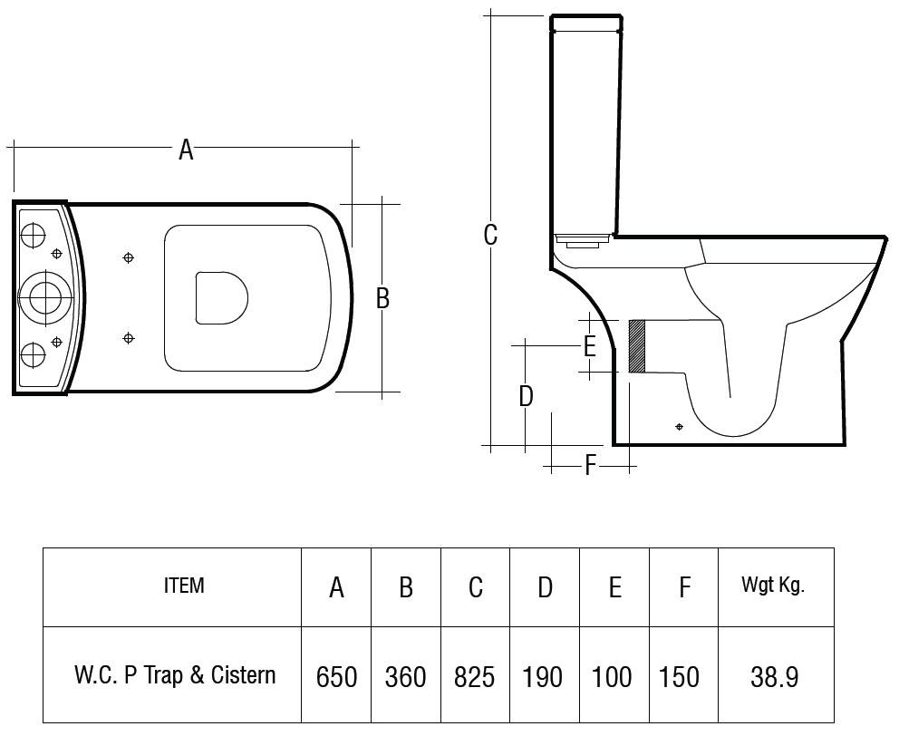 Toilet Seat 650mm Technical Drawing QS V36308 SUMPAKSC