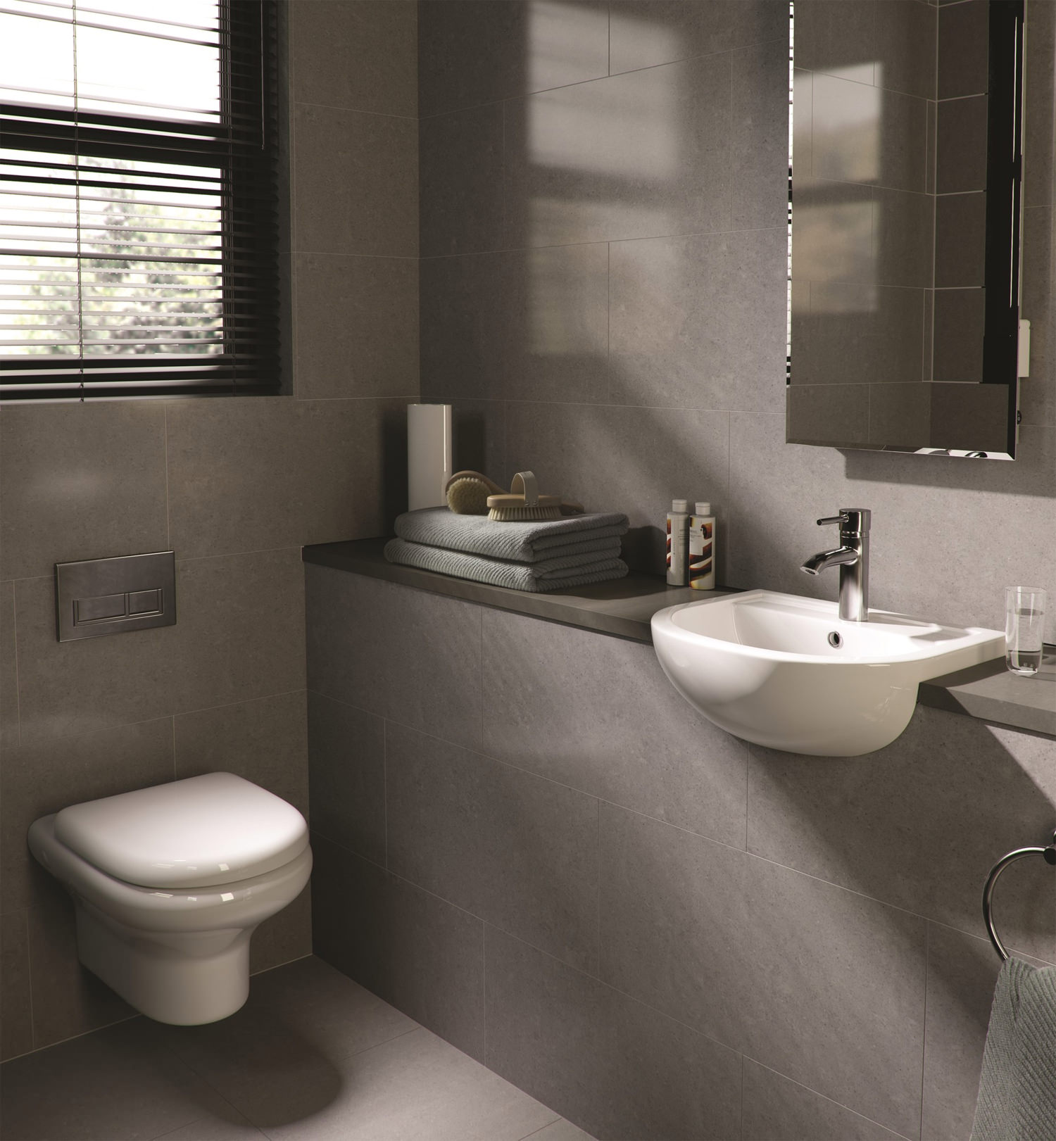 Wall hung bathroom suites -  Additional Image Of Rak Compact New Wall Hung Wc Pan With Soft Close Seat 520mm