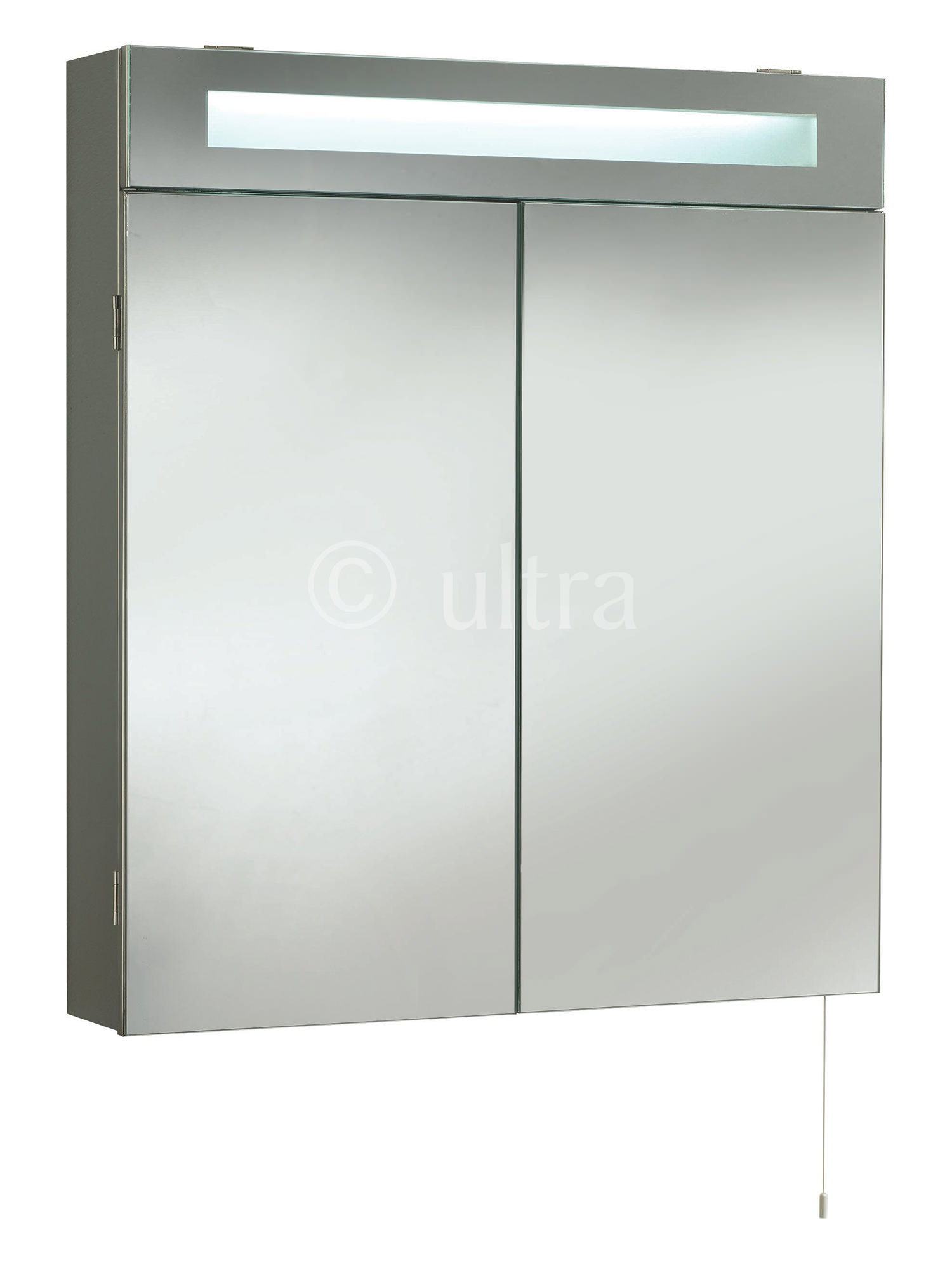 Ultra tuscon double door mirrored cabinet with light 620 x for Kitchen cabinets 700mm