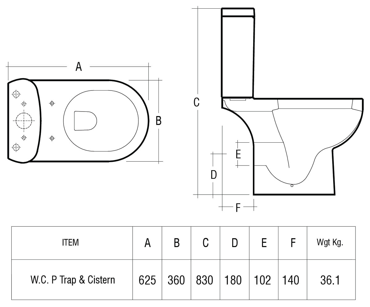 Rak Tonique Close Coupled Wc With Soft Close Toilet Seat 625mm