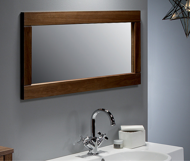 walnut bathroom mirror roper karma walnut framed mirror 900mm krmmaw 15014
