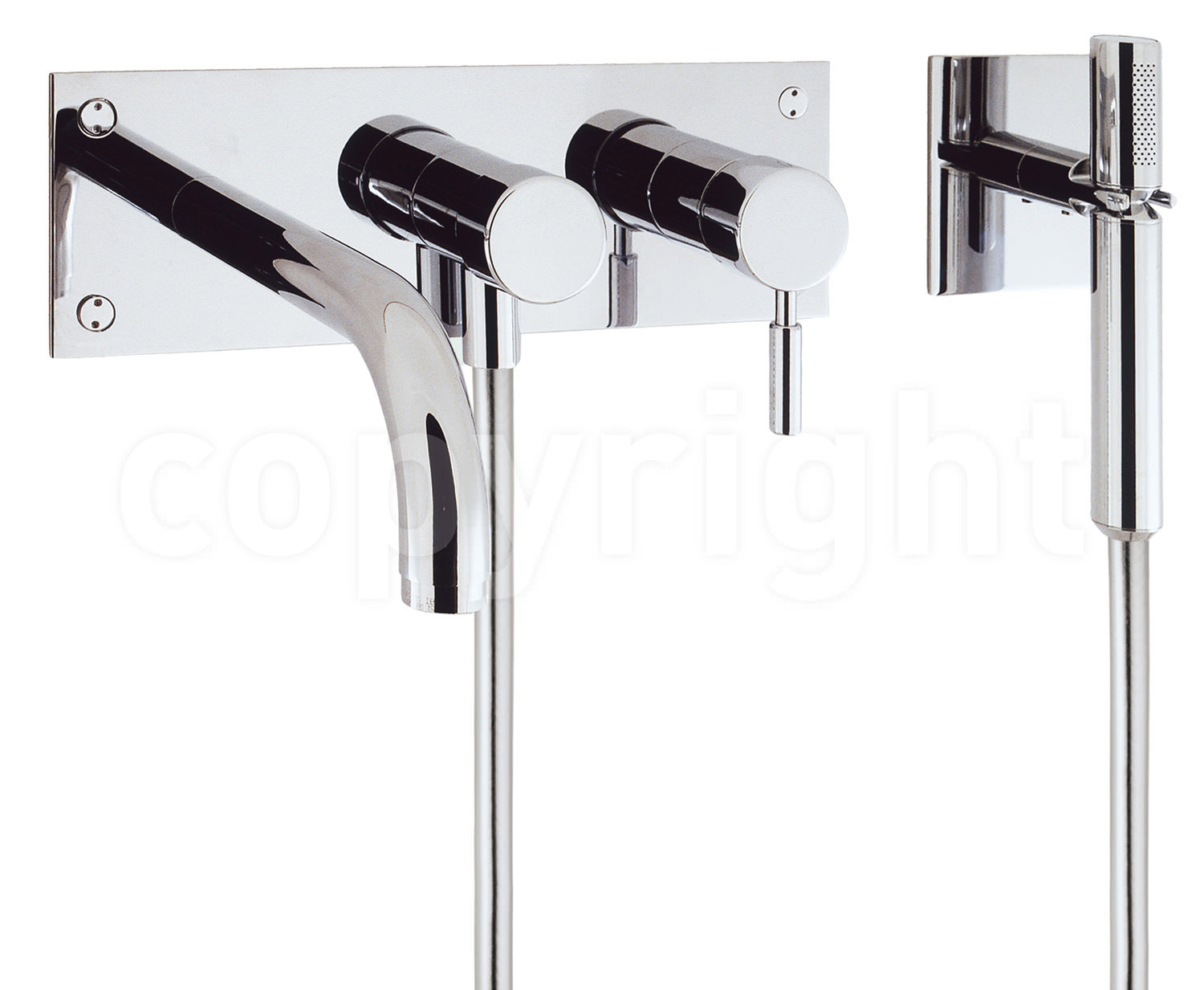 Crosswater Design Wall Mount 3 Hole Bath Shower Mixer Tap