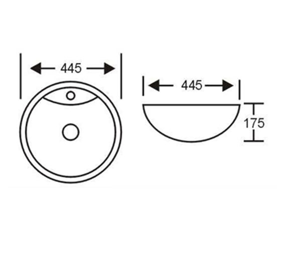 Aqva Nimes Countertop Basin 445mm Bbd Nimes2