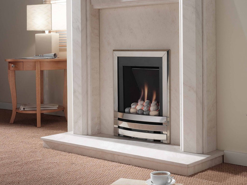 flavel windsor manual control contemporary gas fire silver pebble