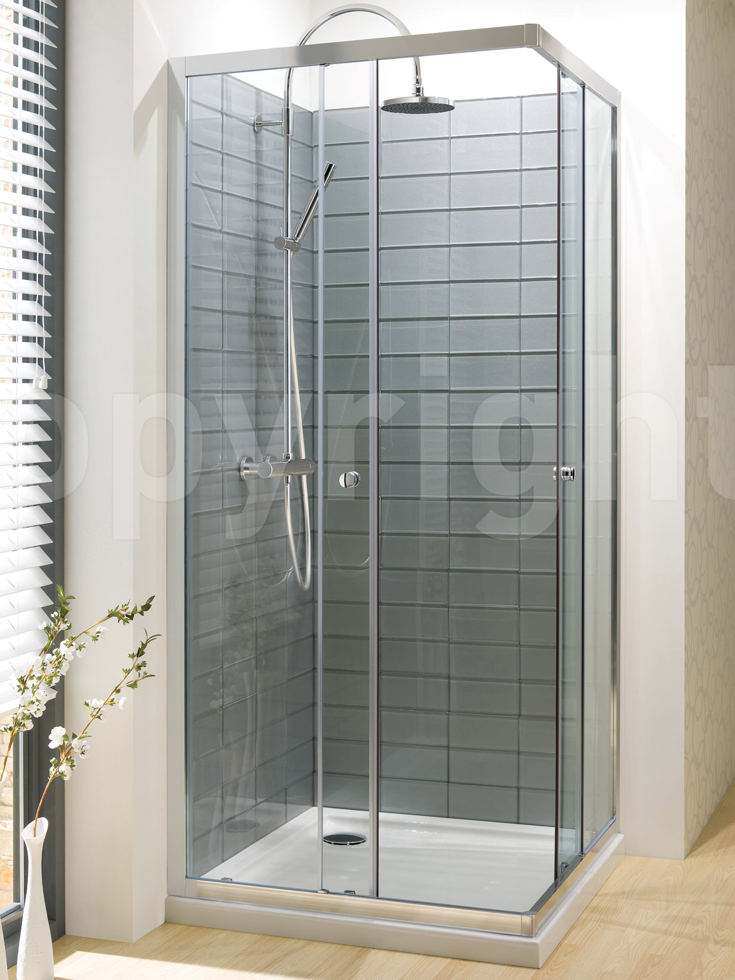 Simpsons edge corner entry shower enclosure 760mm Bathroom tile showers