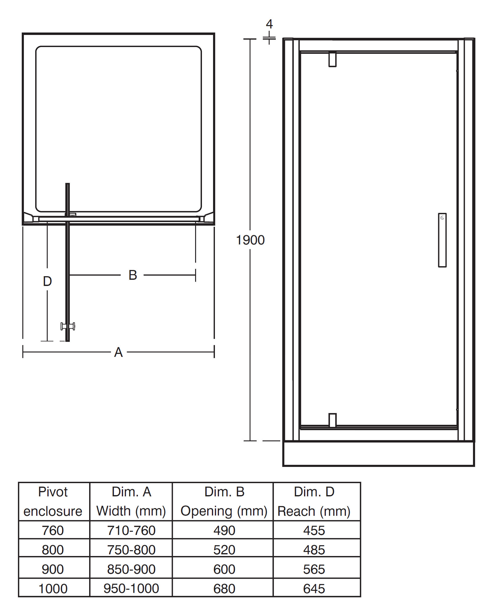 Ideal standard synergy pivot alcove shower door 1000mm for 1000mm pivot shower door