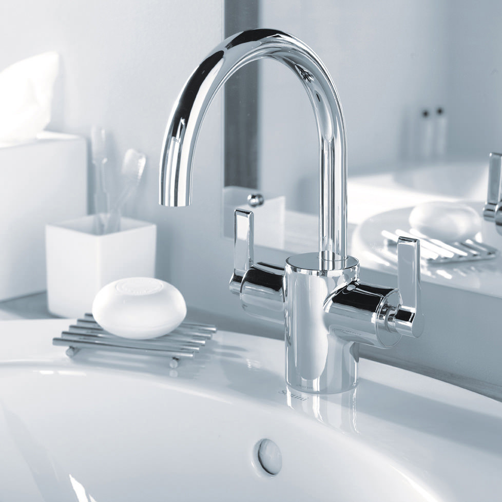 ideal standard silver dual control basin mixer with pop up. Black Bedroom Furniture Sets. Home Design Ideas