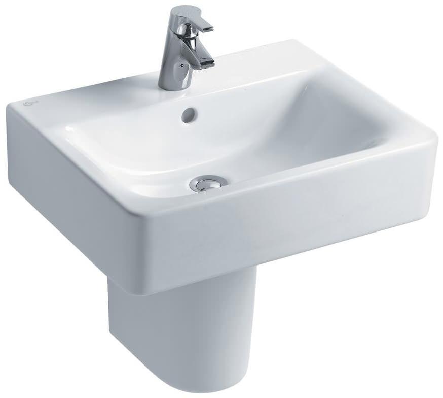 ideal standard concept cube 550mm 1 taphole basin and pedestal. Black Bedroom Furniture Sets. Home Design Ideas