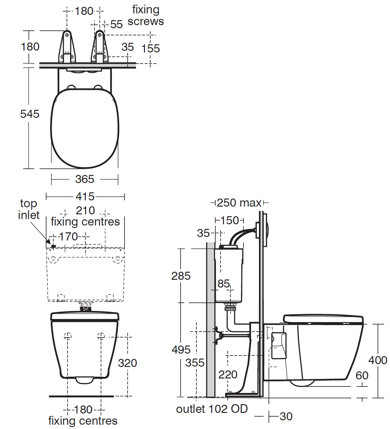 Ideal Standard Concept Wall Mounted Wc Pan 545mm E785001