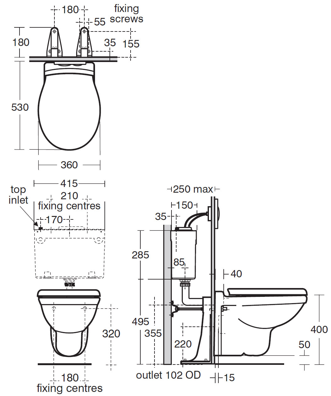 Ideal Standard Alto Wall Mounted Wc 530mm R341901