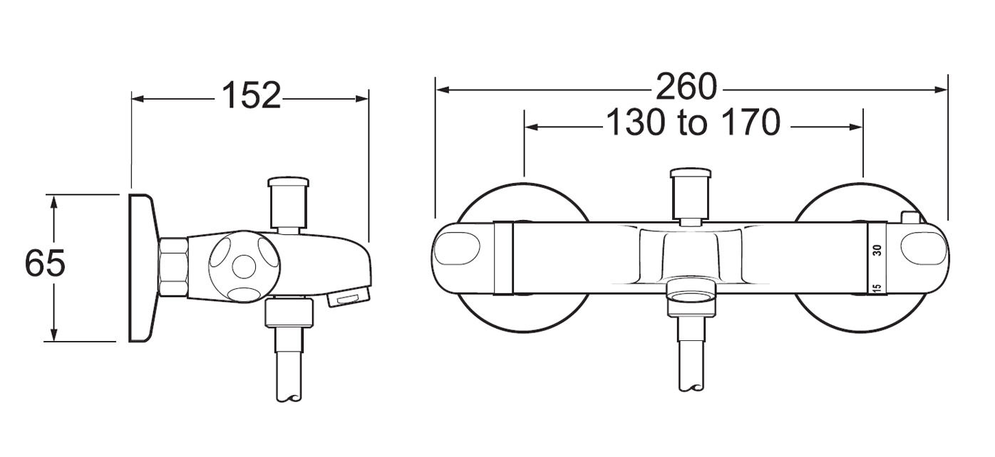 Deva Thermostatic Wall Mounted Lever Bath Shower Mixer Tap Technical Drawing QS V40767 TLV106WM