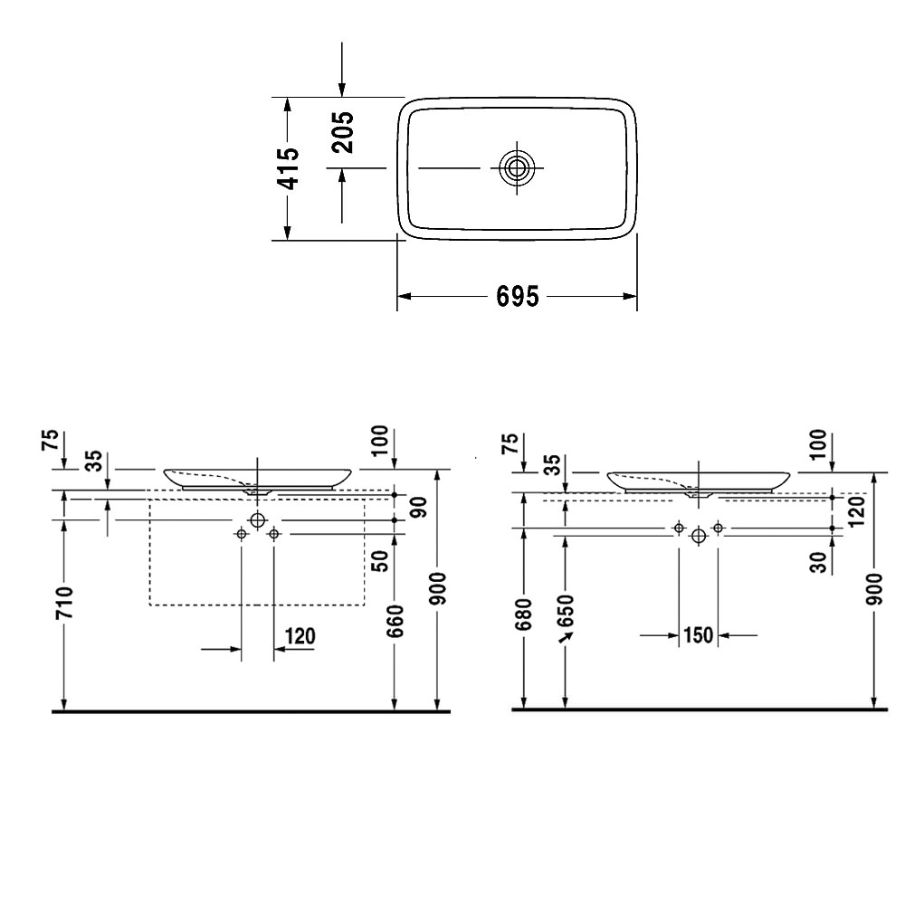 Duravit PuraVida 700 X 420mm Ground Wash Bowl · Technical Drawing QS V40899  / 0370700000 ...