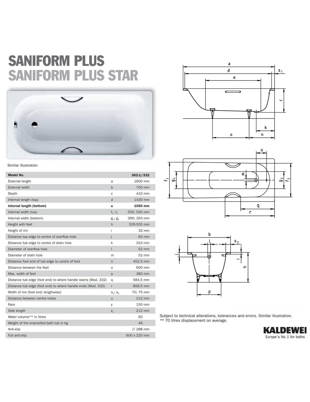 kaldewei saniform plus 362 1 steel bath 1600 x 700mm 0 tap. Black Bedroom Furniture Sets. Home Design Ideas