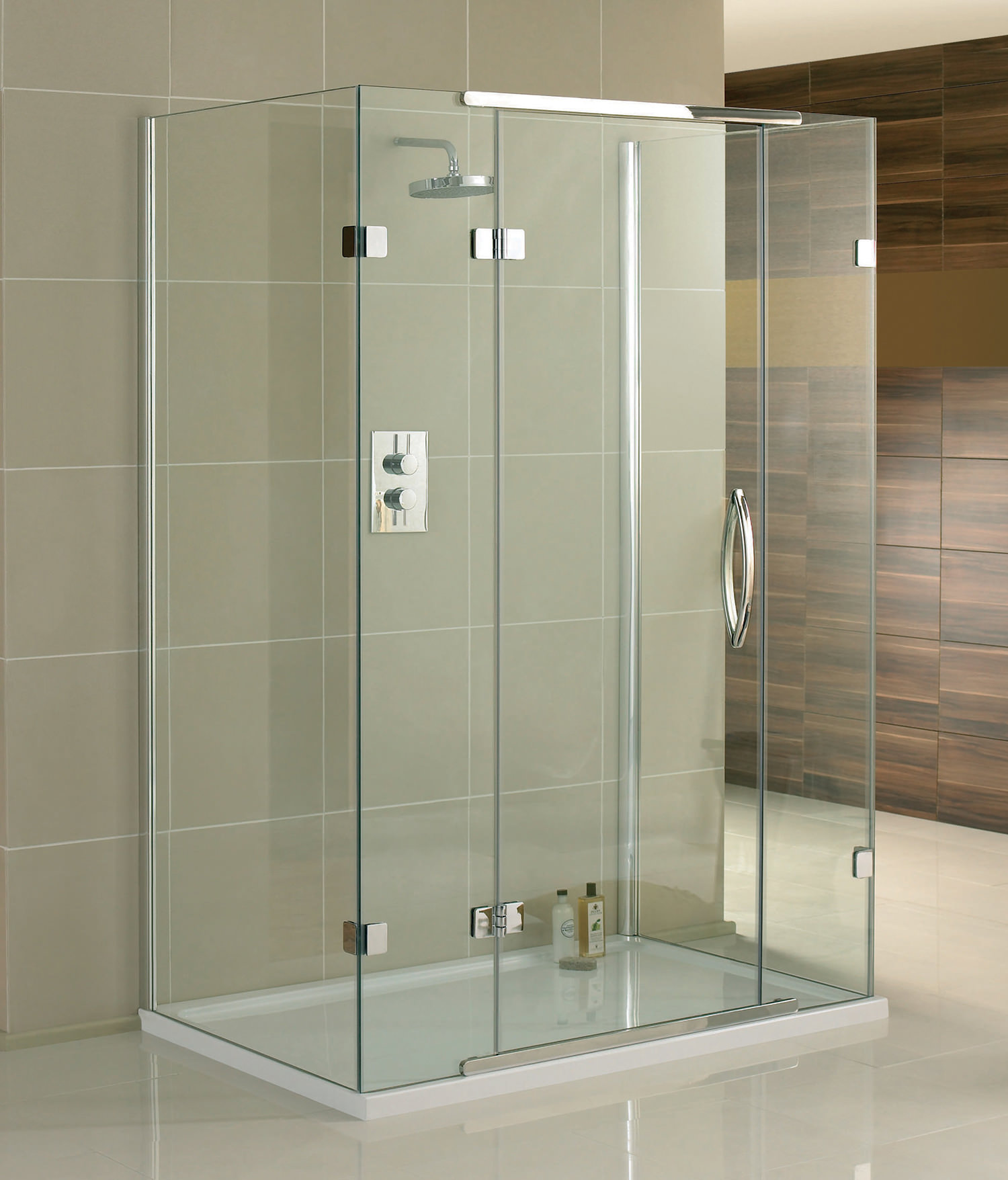 Aquadart Inline 3 Sided Hinged Door Shower Enclosure 1400