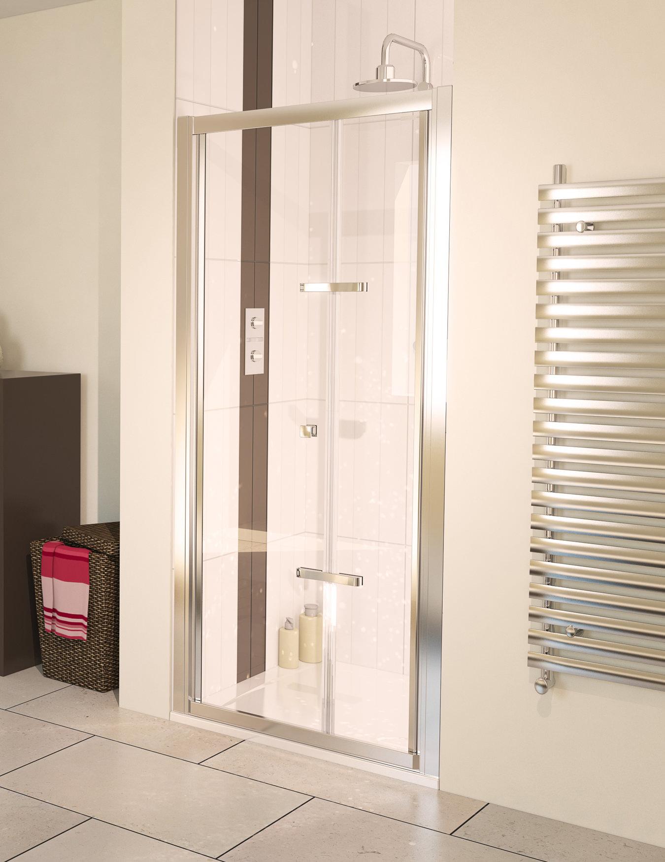 Bi fold shower door will give your bathroom an upscale look bath - Aqua 6 Bifold Polished Silver Frame Shower Door 760mm Aqualux
